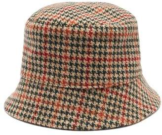 Prada Houndstooth Wool Tweed Bucket Hat - Womens - Green