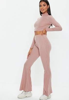 Missguided Rose Matte Ribbed Flare Trousers