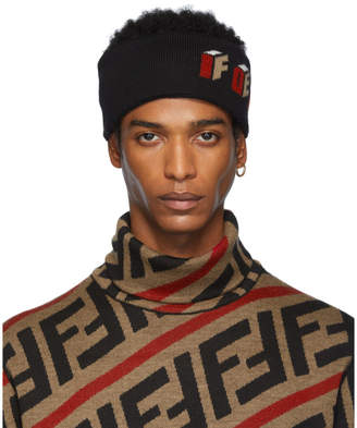 Fendi Black Wool 3D Headband
