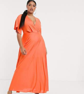 Asos DESIGN Curve twist detail pleated kimono Maxi dress