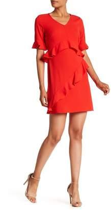 Nicole Miller V-Neck Ruffle Sleeve Dress