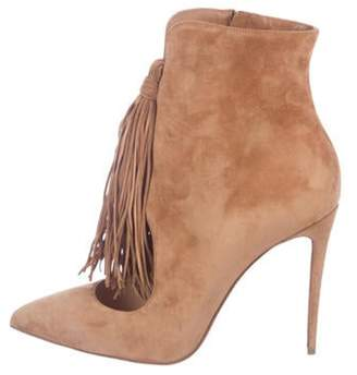 Christian Louboutin Fringe Ankle Booties Brown Fringe Ankle Booties