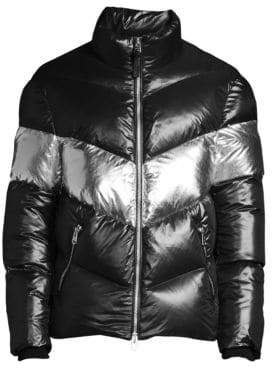 Mackage Men's Quilted Down& Feather Fill Metallic Puffer Jacket - Black - Size 44 (34)