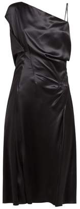 Versace Asymmetric Silk Satin Slip Dress - Womens - Black