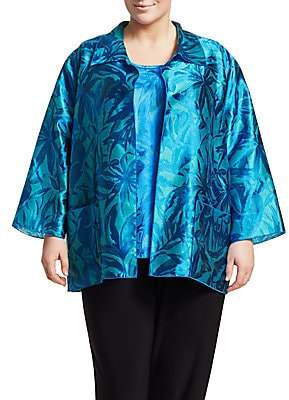 Caroline Rose Caroline Rose, Plus Size Women's Blue Hawaii 2-Piece Jacquard Shirt & Long Tank Set
