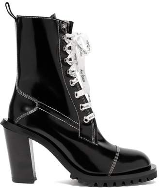 Acne Studios Block Heel Topstitched Leather Ankle Boots - Womens - Black