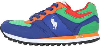 Ralph Lauren Mesh & Faux Leather Running Sneakers