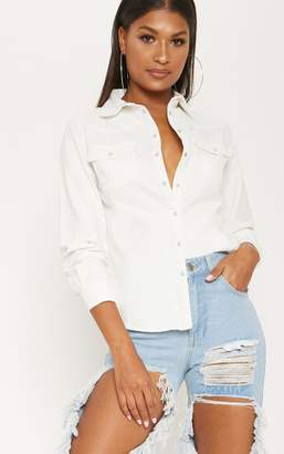 PrettyLittleThing White Western Denim Shirt