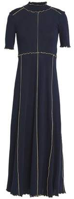 See by Chloe Ruffle-Trimmed Cotton-Jersey Midi Dress