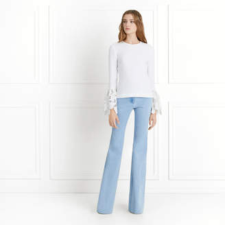 Rachel Zoe Emily Bell-Sleeve Stretch-Crepe and Lace Top