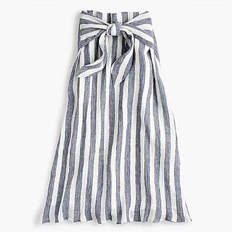 Point Sur tie-waist skirt in nautical striped linen