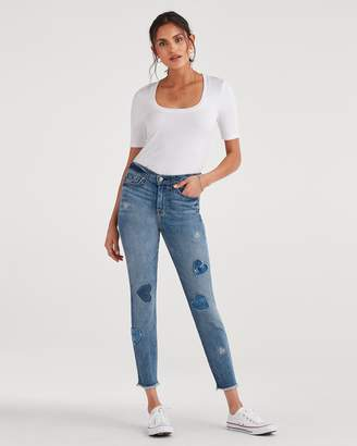 7 For All Mankind High Waist Ankle Skinny with Frayed Hem and Heart Patches in Indigo Springs