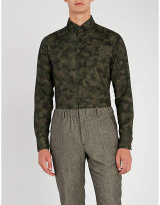 BOSS Camouflage slim-fit cotton-flannel shirt