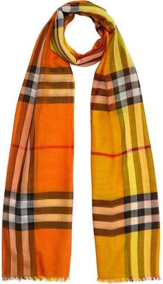 Burberry Colour Block Check Wool Silk Scarf