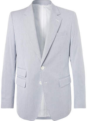 Connolly Blue Slim-Fit Striped Cotton-Seersucker Blazer