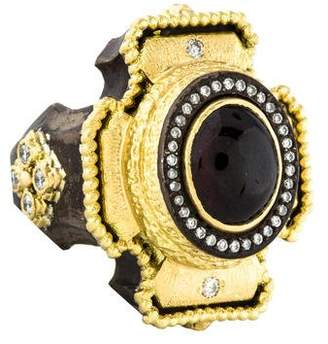 Armenta Two-Tone Diamond & Garnet Cocktail Ring