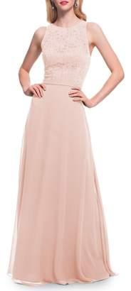 #Levkoff Lace Bodice Chiffon Gown