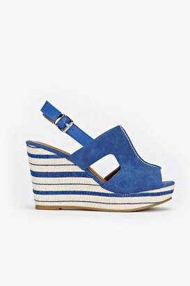 Wallis Blue Striped Wedge Sandal