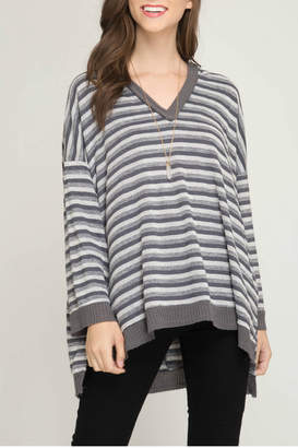 She + Sky Long sleeve striped knit pullover top with hood