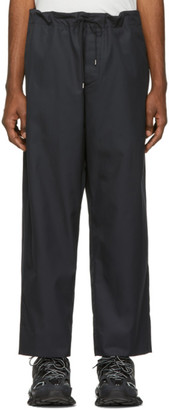 Oamc Navy Cotton Drawstring Trousers