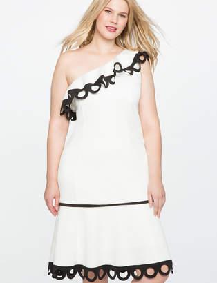 ELOQUII One Shoulder Contrast Trim Dress