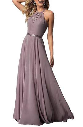 NewFex Halter Bridesmaid Dress 2018 Long Chiffon Women Formal Backless Simple Prom Party Gown Light Grey
