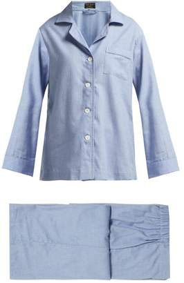 Emma Willis - Fluted Sleeve Cotton Blend Pyjamas - Womens - Blue