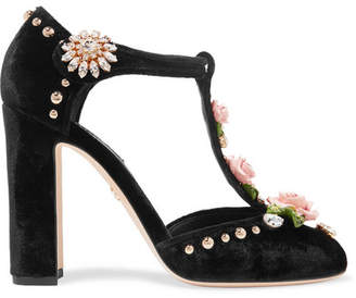 Dolce & Gabbana Embellished Velvet Pumps - Black