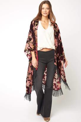 Silvia Rossini Pia Floral Burnout Velvet Kimono