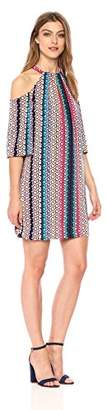 Trina Turk Women's Spirit Tie Neck Cold Shoulder Dress