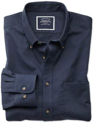 Charles Tyrwhitt Extra Slim Fit Non-Iron Button Down Collar Navy Twill Cotton Casual Shirt Single Cuff Size Large