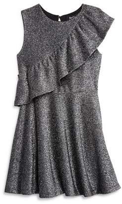 Bardot Junior Girls' Mya Ruffled Metallic Shimmer Swing Dress - Little Kid