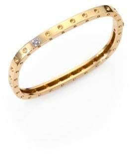 Roberto Coin Pois Moi Diamond& 18K Yellow Gold Single-Row Bangle Bracelet