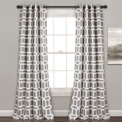 Lush Décor Sequoia Geo 84-Inch Grommet Top Window Panel Pair in Grey