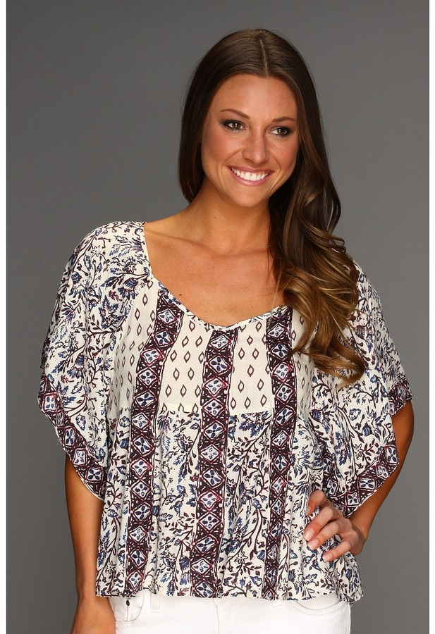 Free People Mixed It Up Printed Textured Top (Tea Combo) - Apparel