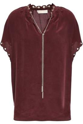 MICHAEL Michael Kors Chain-trimmed Washed-silk Blouse