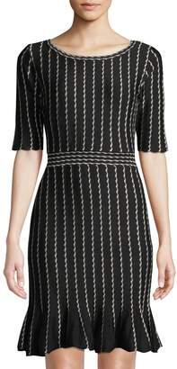 Neiman Marcus Stripe-Jacquard Flounce Skirt Sweater Dress