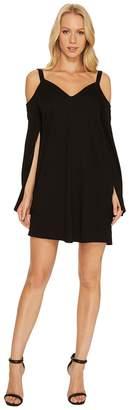 Lanston Cold Shoulder Split Sleeve Mini Dress Women's Dress