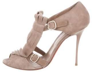 Santoni Kiltie-Accented Suede Sandals