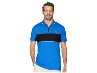 Lacoste Sport Short Sleeve Semi Fancy Color Block Golf Polo w/ Collar Zip