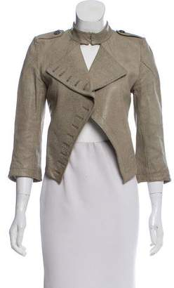 Yigal Azrouel Leather Open-Front Jacket