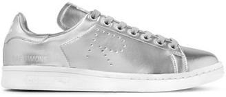 Adidas Originals - + Raf Simons Stan Smith Perforated Metallic Leather Sneakers - Silver $400 thestylecure.com
