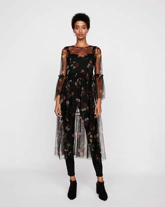 Express Sheer Floral Fit And Flare Midi Dress