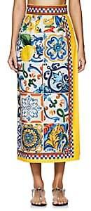 Dolce & Gabbana Women's Majolica-Tile-Print Cotton Poplin Skirt