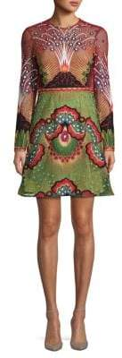 Valentino Embroidered Long-Sleeve A-Line Dress