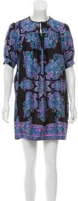 Tibi Short Sleeve Silk Mini Dress