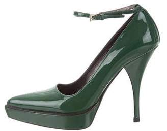 Prada Patent Leather Ankle Strap Pumps