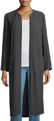 Eileen Fisher Long Button-Front Silk Duster Coat, Plus Size $418 thestylecure.com