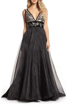 Mac Duggal Embroidered Plunge Neck Ballgown