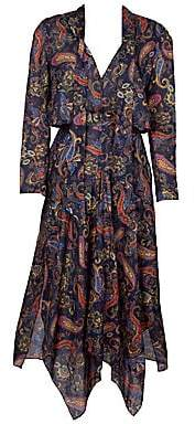 Maje Women's Rista Paisley Handkerchief Midi Dress